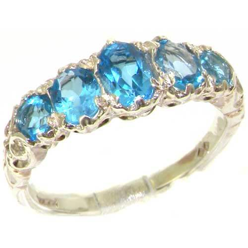 Sterling Silver Blue Topaz 5 Stone Ring