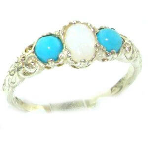 Ladies Solid 14ct White Gold Natural Opal & Turquoise English Victorian Trilogy Ring