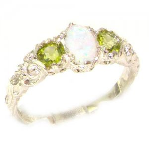Ladies Solid 14ct White Gold Natural Opal & Peridot English Victorian Trilogy Ring