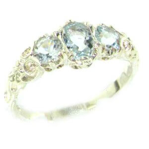 Ladies Solid Sterling Silver Natural Aquamarine English Victorian Trilogy Ring