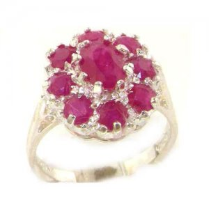Luxury Ladies Solid Sterling Silver Natural 3.3ct Ruby Large Cluster Ring