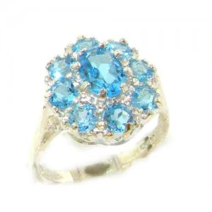 Luxury Ladies Solid Sterling Silver Natural Blue Topaz Large Cluster Ring