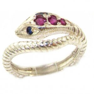 Sterling Silver Ruby & Sapphire Snake Ring