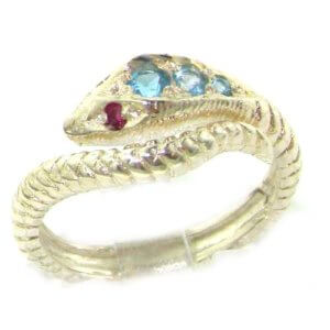 Fabulous Solid Sterling Silver Natural Blue Topaz & Ruby Detailed Snake Ring