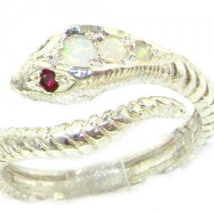Fabulous Solid Sterling Silver Natural Fiery Opal & Ruby Detailed Snake Ring