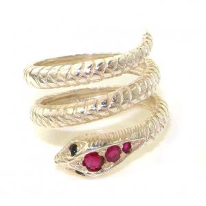 9ct White Gold Ruby & Sapphire Snake Ring