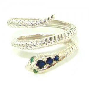 Fabulous Solid Sterling Silver Natural Sapphire & Emerald Detailed Snake Ring