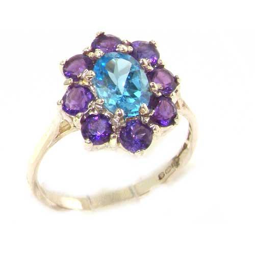 9ct White Gold Blue Topaz & Amethyst Ring