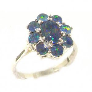 Luxury 9ct White Gold Ladies Opal Cluster Ring