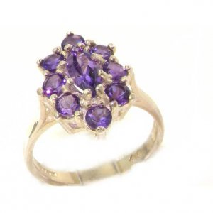 Luxury Ladies Solid British Sterling Silver Natural Amethyst Cluster Ring
