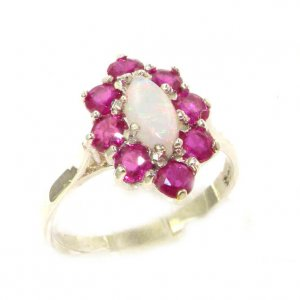 Luxury Ladies Solid British Sterling Silver Natural Opal & Ruby Cluster Ring