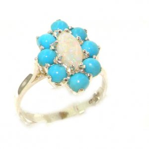 Luxury Ladies Solid British Sterling Silver Natural Opal & Turquoise Cluster Ring