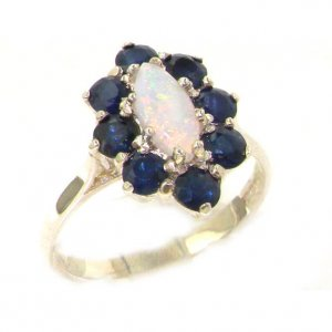 Luxury Ladies Solid British Sterling Silver Natural Opal & Sapphire Cluster Ring