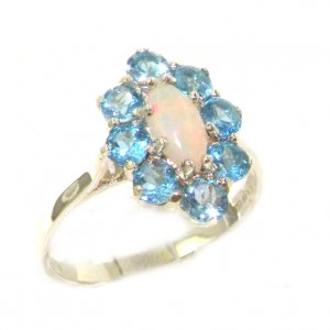 Luxury Ladies Solid British Sterling Silver Natural Opal & Blue Topaz Cluster Ring
