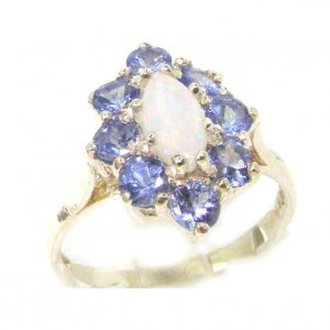 Luxury Ladies Solid British Sterling Silver Natural Opal & Tanzanite Cluster Ring