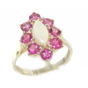 Luxury Ladies Solid British Sterling Silver Natural Opal & Pink Tourmaline Cluster Ring