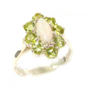 Luxury Ladies Solid British Sterling Silver Natural Opal & Peridot Cluster Ring
