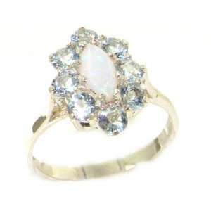 Luxury Ladies Solid British Sterling Silver Natural Opal & Aquamarine Cluster Ring