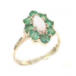 Luxury Ladies Solid British Sterling Silver Natural Opal & Emerald Cluster Ring
