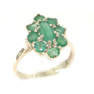 Luxury Ladies Solid British Sterling Silver Natural Emerald Cluster Ring