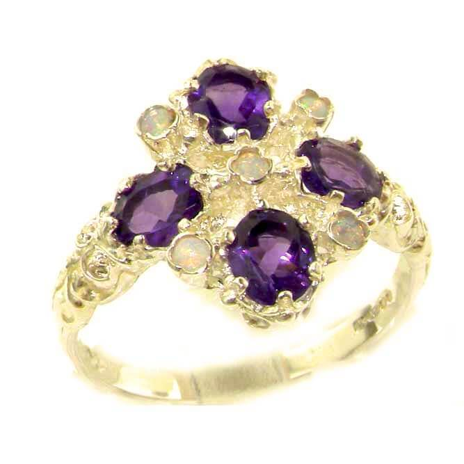 Ladies Hallmarked Sterling 925 Solid Silver Natural Diamond and Amethyst Ring
