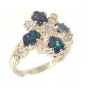 Luxury 9ct White Gold Ladies Opal 9 Stone Ring
