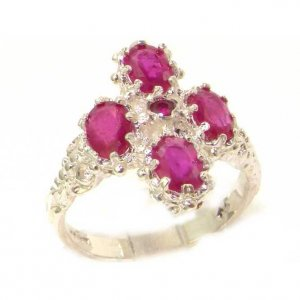Victorian Design Solid English Sterling Silver Natural Ruby Ring