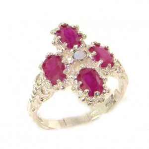 Heavy Weight Victorian Design Solid Sterling Silver Natural Ruby & Fiery Opal Ring