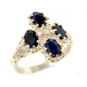 Heavy Weight Victorian Design Solid Sterling Silver Natural Sapphire & Fiery Opal Ring