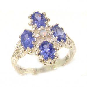 Heavy Weight Victorian Design Solid Sterling Silver Natural Tanzanite & Fiery Opal Ring