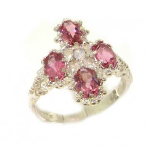 Heavy Weight Victorian Design Solid Sterling Silver Natural Pink Tourmaline & Fiery Opal Ring
