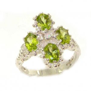 Heavy Weight Victorian Design Solid Sterling Silver Natural Peridot & Fiery Opal Ring