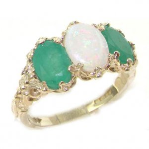 Victorian Design Solid English Sterling Silver Natural Large Opal & Emerald Ladies Ring