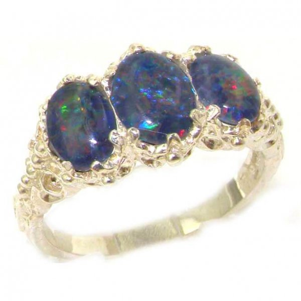 Victorian Design Solid English Sterling Silver Colorful Opal Ladies Ring