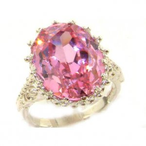 Luxury Solid Sterling Silver Large 16x12mm Oval 13ct Synthetic Pink Sapphire Ring