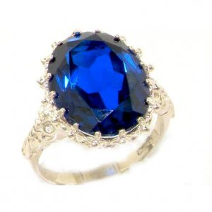 Luxury Solid Sterling Silver Large 16x12mm Oval 11ct Synthetic Blue Sapphire Ring