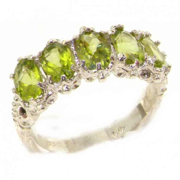 Victorian Design Solid English Sterling Silver Natural Peridot Ring