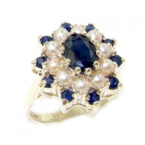 Fabulous Solid Sterling Silver Natural Sapphire & Pearl 3 Tier Large Cluster Ring