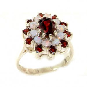 Fabulous Solid Sterling Silver Natural Garnet & Fiery Opal 3 Tier Large Cluster Ring