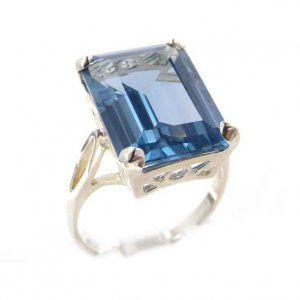 Luxury Solid Sterling Silver Large 16x12mm Octagon cut Synthetic Aquamarine Ring