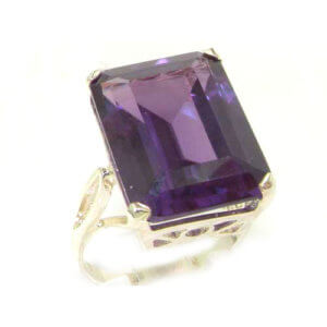 Luxury Solid Sterling Silver Large 16x12mm Octagon cut Synthetic Alexandrite Ring