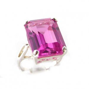 Luxury Sterling Silver Ladies Large Solitaire Synthetic Pink Sapphire Basket Ring