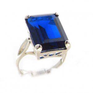Luxury Solid Sterling Silver Large 16x12mm Octagon cut Synthetic Sapphire Ring