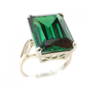 Luxury Solid Sterling Silver Large 16x12mm Octagon cut Synthetic Emerald Ring