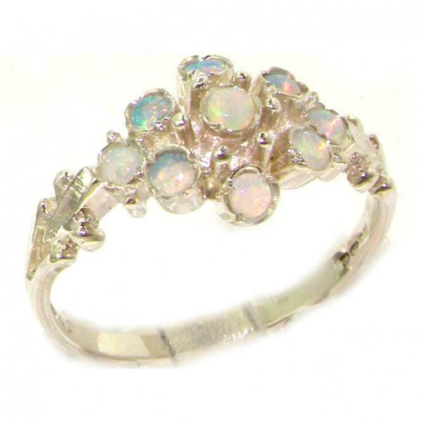 Unusual Solid Sterling Silver Natural Fiery Opal Ring with English Hallmarks