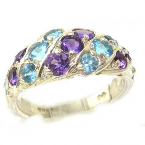 Luxury Ladies Solid Sterling Silver Natural Amethyst & Blue Topaz Band Ring