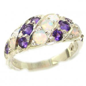 Luxury Ladies Solid Sterling Silver Natural Fiery Opal & Amethyst Band Ring