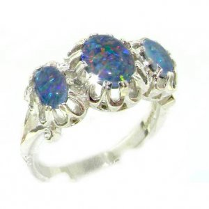 Luxury Sterling Silver Ladies Large Opal Trilogy Ring