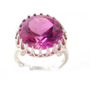 Luxury Sterling Silver Ladies Large Round Solitaire Synthetic Pink Sapphire Basket Ring