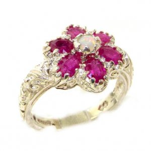 Solid English Sterling Silver Ladies Fiery Opal & Ruby Art Nouveau Flower Ring